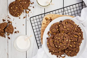A plate of chocolate cookies with toffee